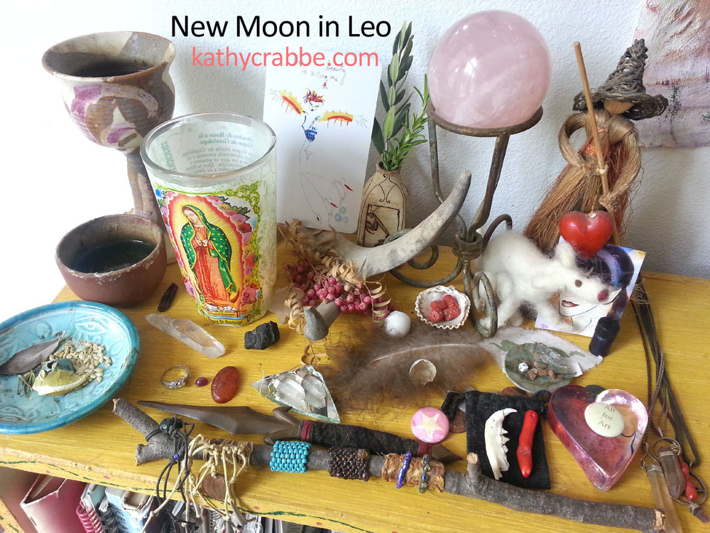 Leo New Moon altar by Kathy Crabbe