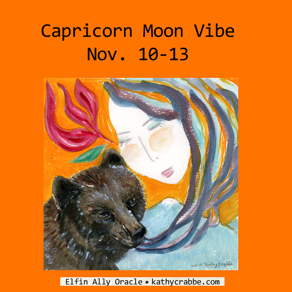 Capricorn Moon Vibe by Kathy Crabbe. From the  Elfin Ally Oracle Deck