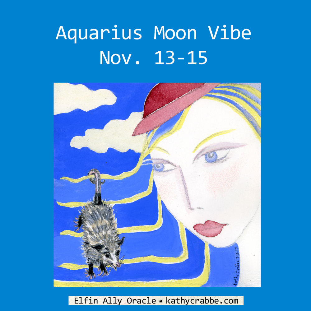 Aquarius Moon Vibe by Kathy Crabbe from the Elfin Ally Oracle Deck