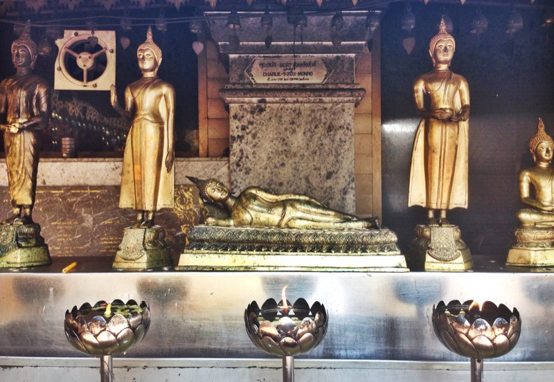 Buddha displays and offerings in Doi Suthep