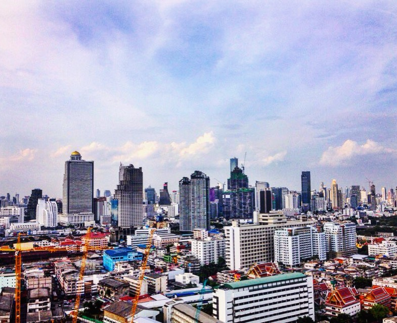 A view of the bangkok skyline from my hotel balcony