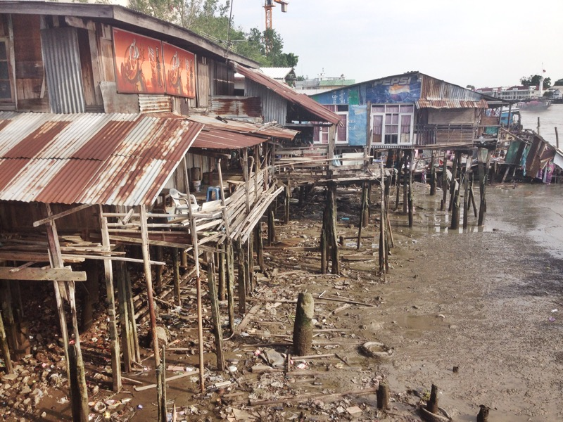 Thai homes near a pier