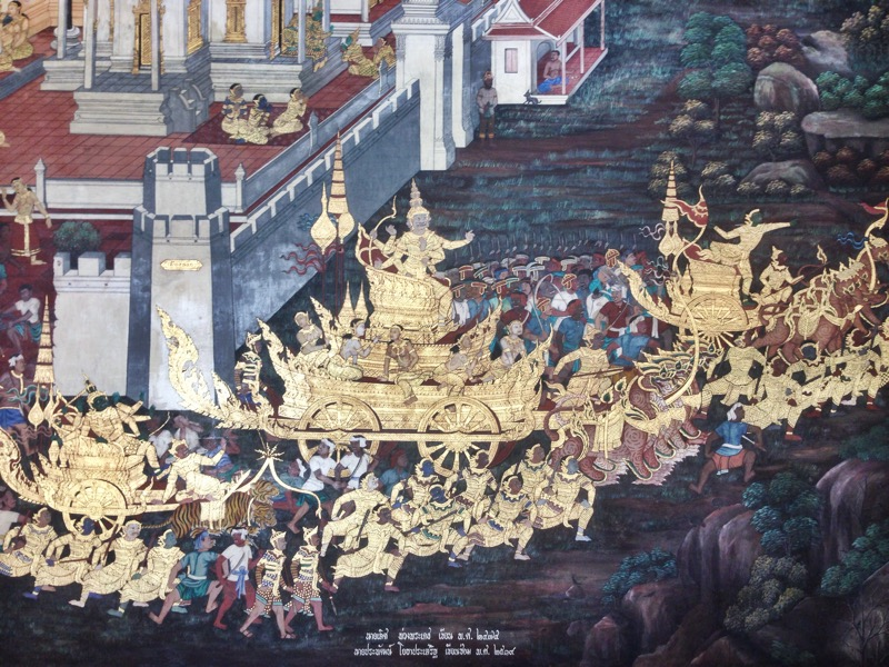 beautiful gold leaf wall paper depicting historical stories of Thailand