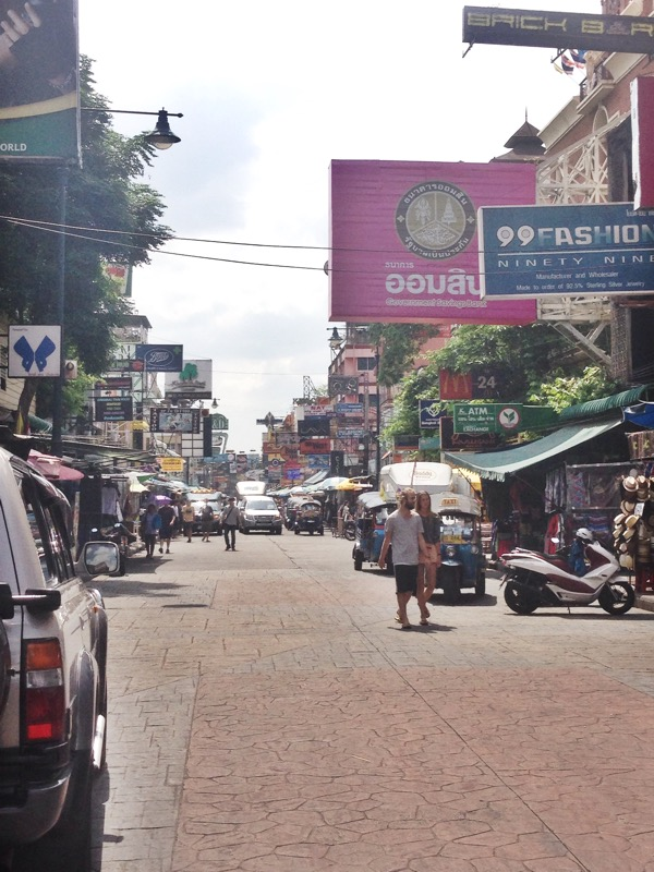 The start of Khao San Road with countless billboards and shops