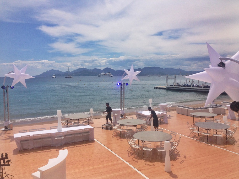 A Cannes beach club preparing for a private event