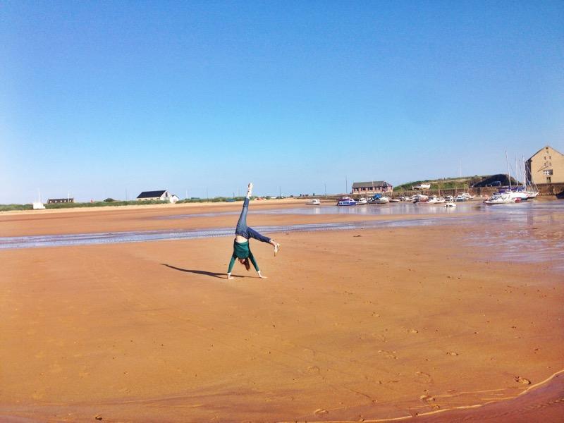 Enjoying the sun and beach at Elie