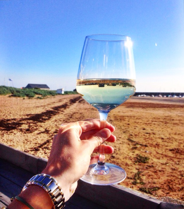 Having a glass of wine at The Ship Inn at Elie Beach