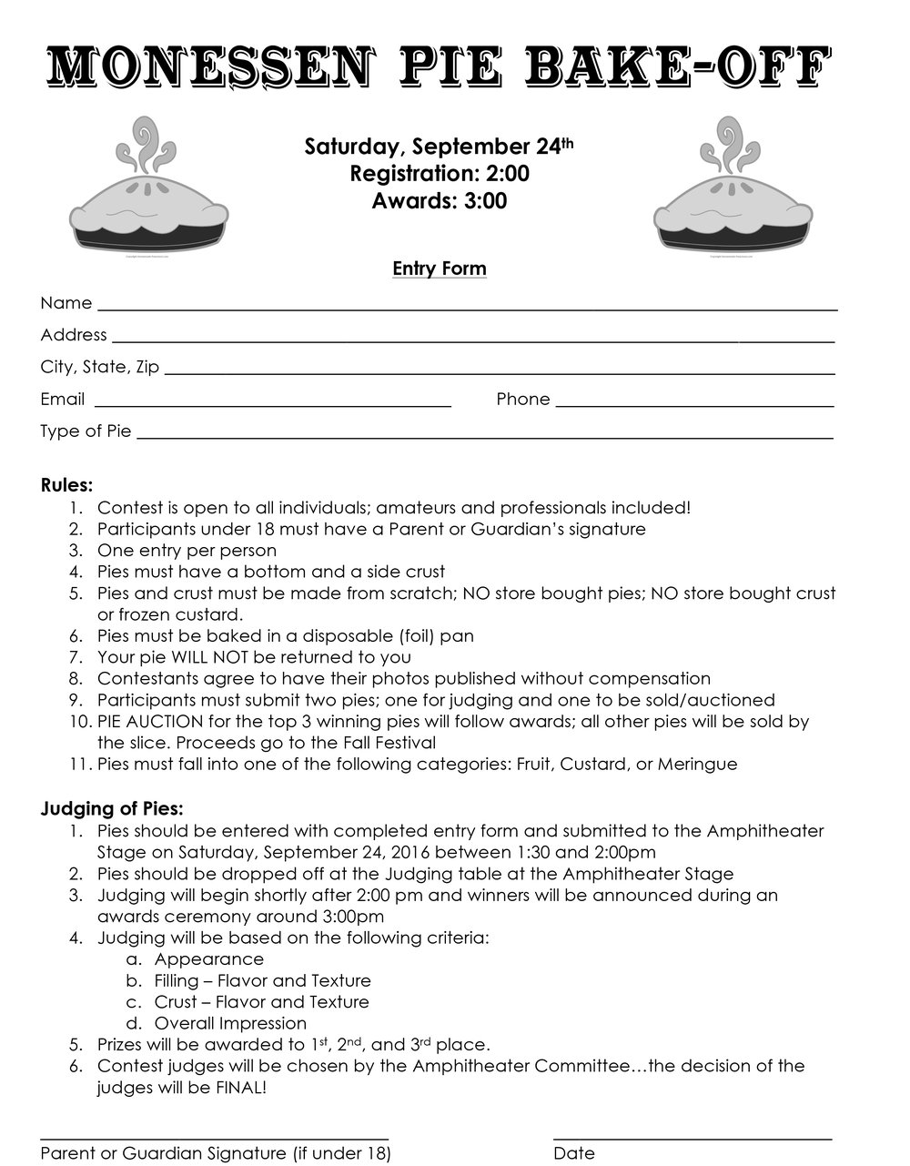 Print this form out (it is saved as a jpg.) and fill it out! Forms will also be available at the event.