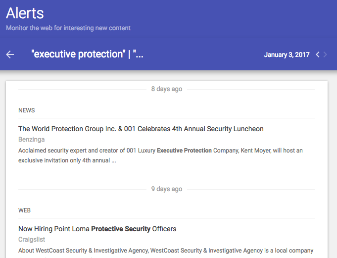 Executive Protection Alerts