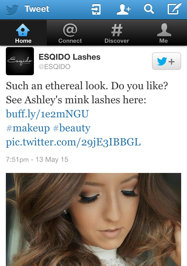 Esqido Lashes Twitter Feature