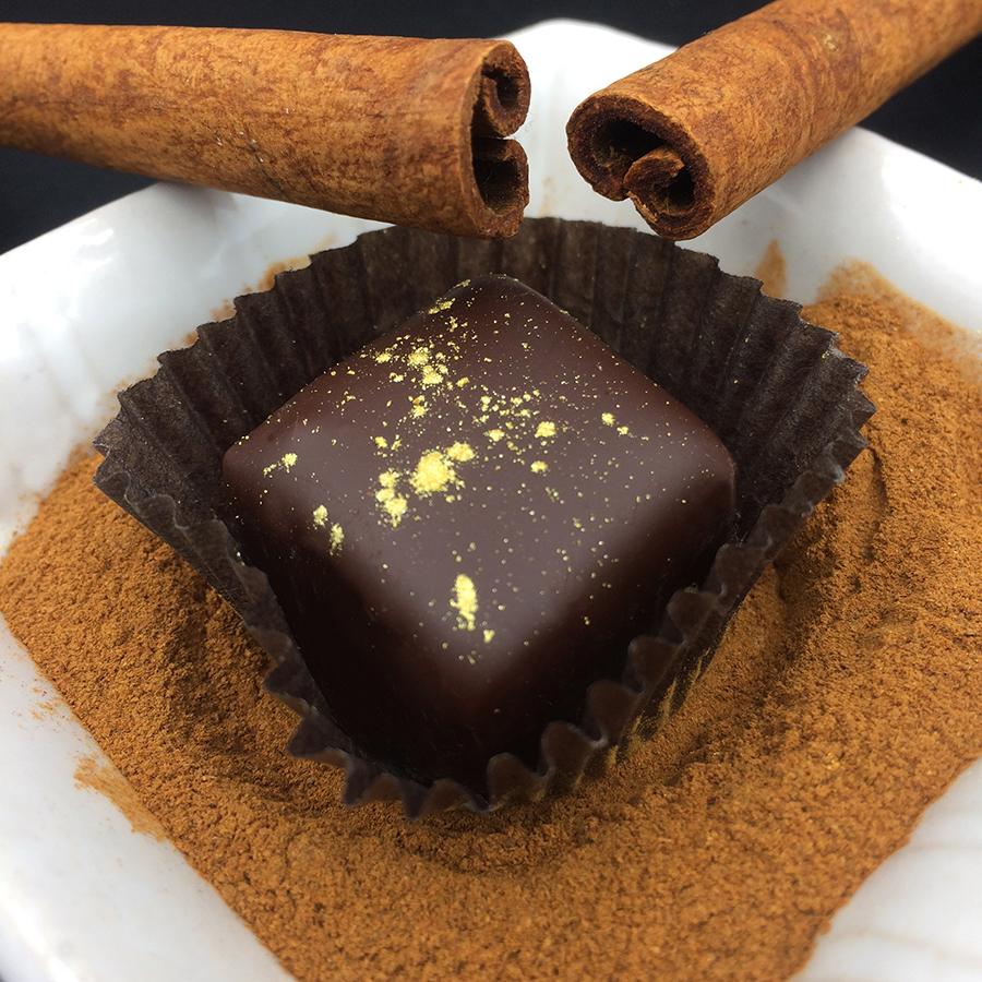 SIN-NAMON  VIETNAMESE CINNAMON DARK CHOCOLATE TRUFFLE 70% dark organic fair trade chocolate, organic heavy cream, organic butter, organic cane sugar, organic vanilla, organic Vietnamese cinnamon, salt