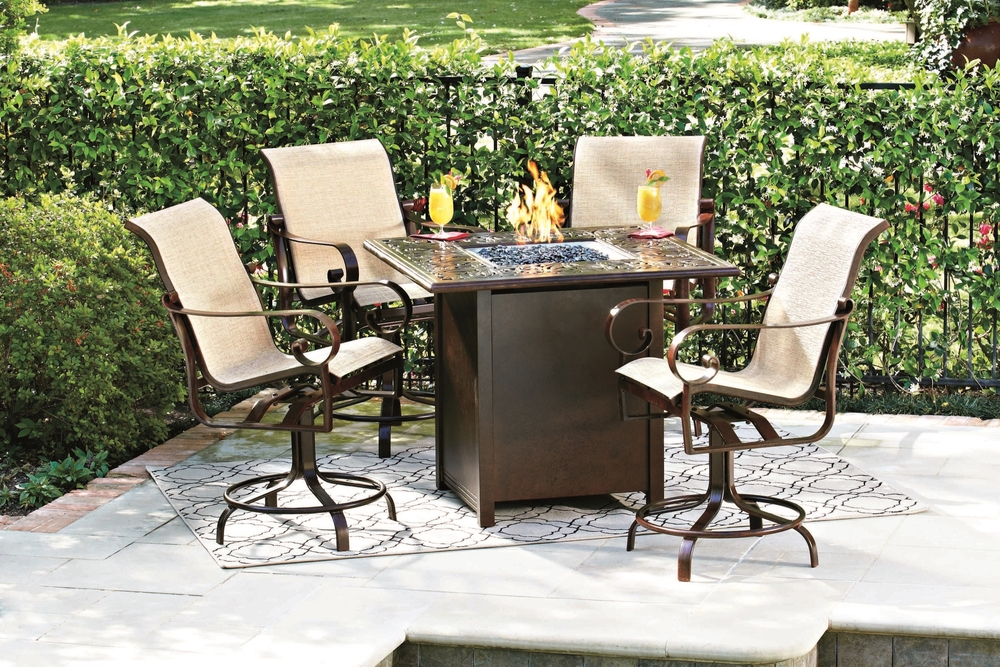 Outdoor Fire Pit Table   Our durable and beautiful  fire pit tables  are stylish and functional, and will last for years with proper maintenance. Available in coffee table, dining, or bar height, with a wide selection of styles and finishes, these tables will be the centerpiece of Dad's outdoor living space.