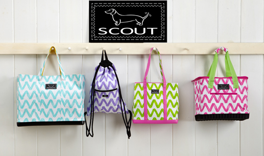 Scout Bags SCOUT bags represent the best of both worlds: function and fashion. Come see our beautiful display of SCOUT bags and accessories. They are water resistant, easy to clean, and easy to carry, and make a perfect gift for her.