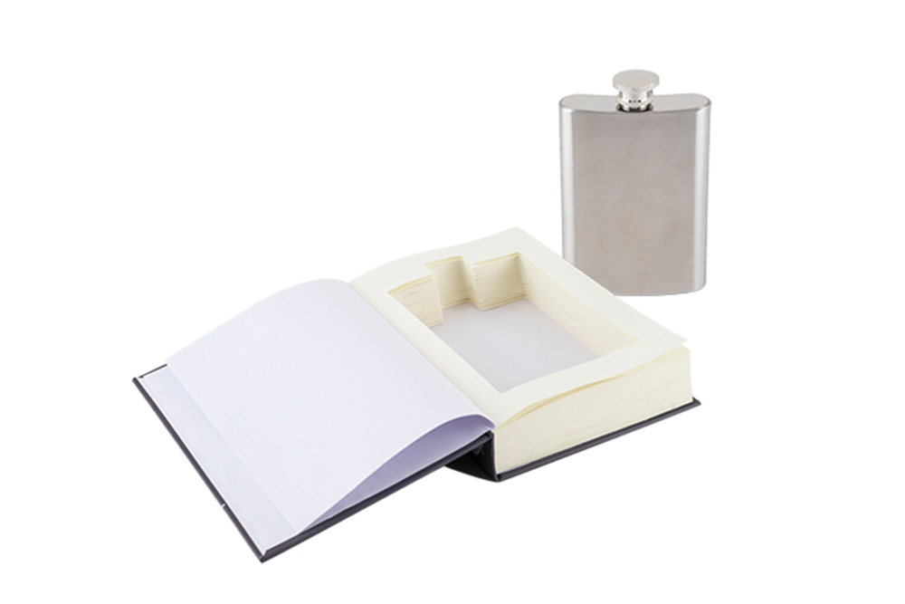 Survival Book 5oz Sneaky Flask This is one book that doesn't require glasses,unless you plan to pour a round for the rest of us. Bound between an illustrated hardcover backing, this survival guide supplies you with a cleverly hidden booze-ready flask, tucked secretly between the purely decorative pages.