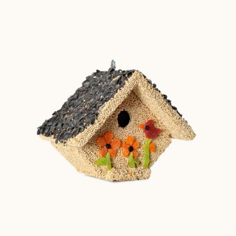Delicious and delectable premium bird seed coat these wooden houses and decorated with sweet spring fruits.  A delightful treat for your favorite backyard birds and a thoughtful gift for any bird-lover.