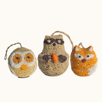 "These solid seed, nut and fruit wild bird treats are a darling gift for anyone. Each has a hanger included and is totally edible. Premium seed make these irresistible to the birds and loved by all your ""woodland friends""."