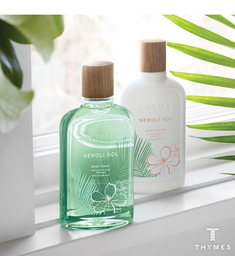 New Thymes Scents  Carefree Neroli Sol! A perfect backdrop of golden sun, balmy winds, and lush palm leaves; this sultry, tropical floral and lightly citrus fragrance beckons a moment of blissful freedom. A distinctive fragrance that is a work of art.