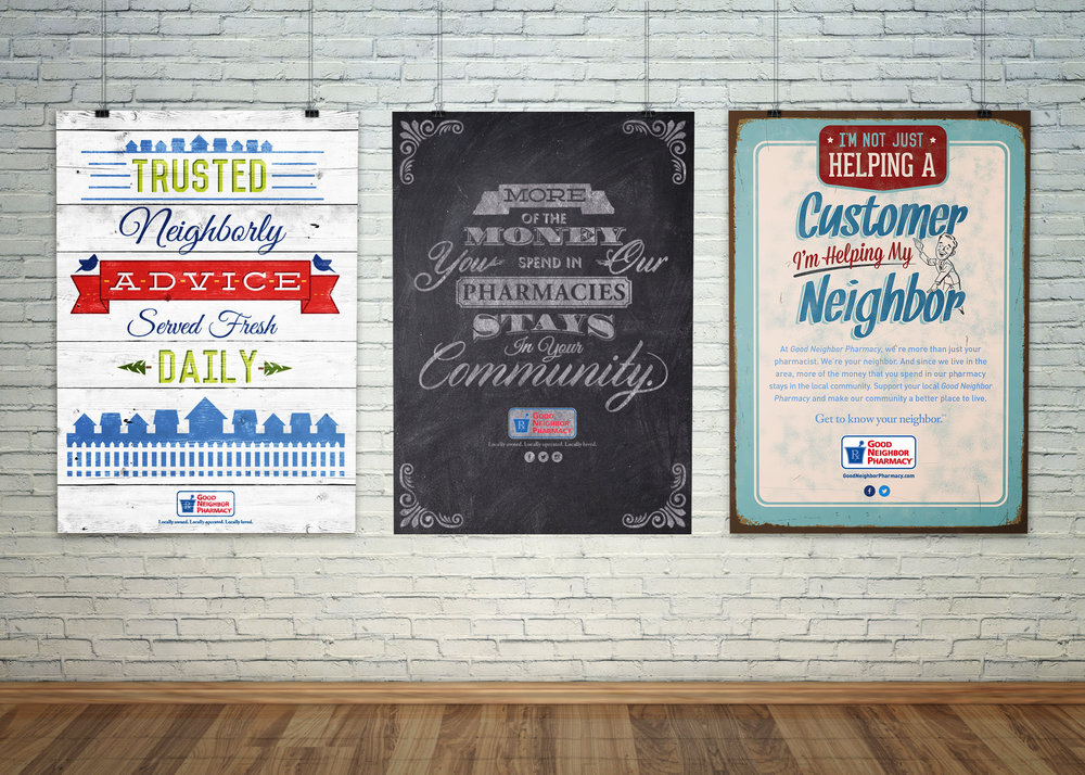 Personal Role:  To kick off the Locally Loved campaign we launched the Good Neighbor Pharmacy home grown print campaign which disrupted the pharmaceutical add space and was later recognized at the Philadelphia ADDY awards for best news print series. While I helped design various pieces of this campaign the above posters are three of my original designs that made it to print.