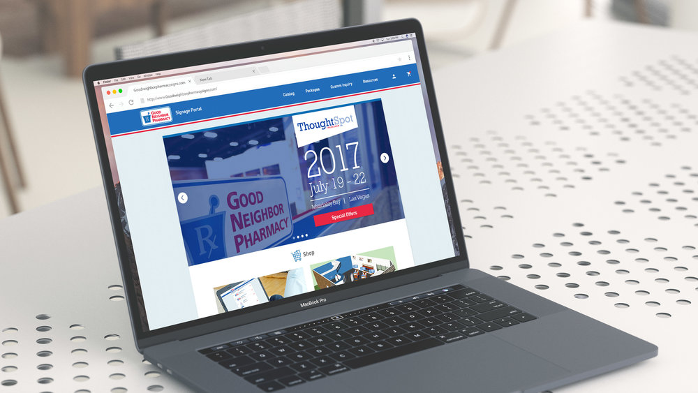 Personal Role:  Design an website catalog for Good Neighbor Pharmacy where members can log on, browse, order, track, and install branded signage from.
