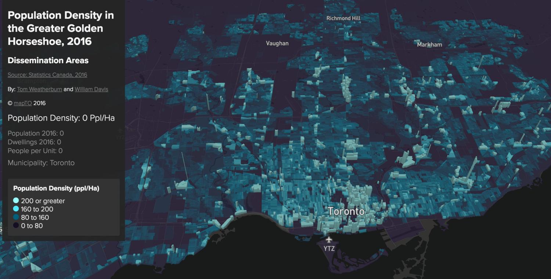 Population Density in the Greater Golden Horseshoe, 2016 — mapTO