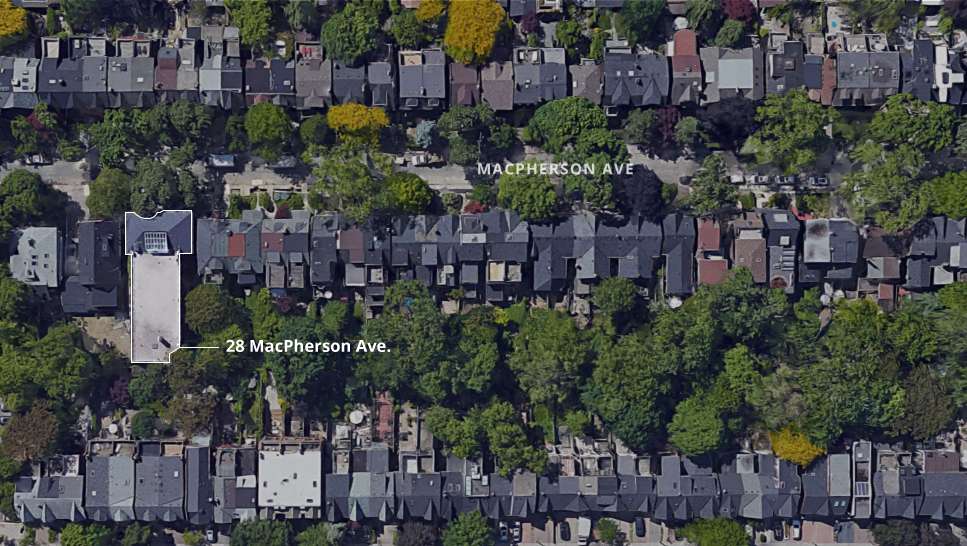 Aerial view of 29 MacPherson Ave.  Source: Google Maps