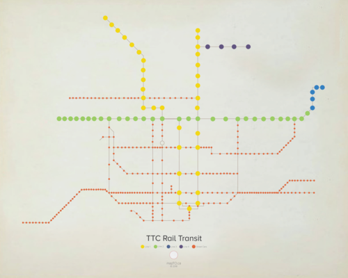 Toronto Subway Map Poster.Mapto