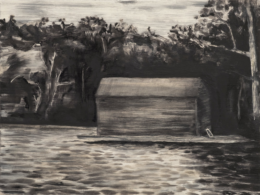Boat house , 2017, Oil on wood, 12 x 16 inches