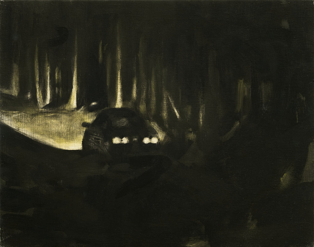 Tail lights , oil on canvas, 2017, 9 x 12 inches