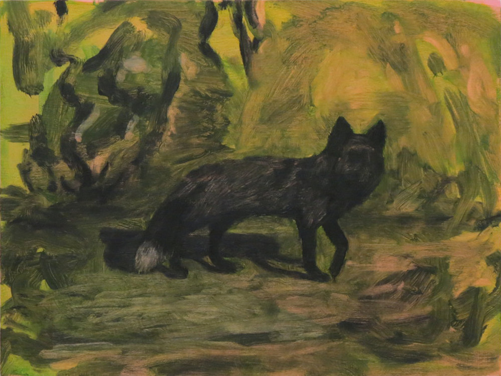 Fox , Oil on wood, 12 x 16, 2018
