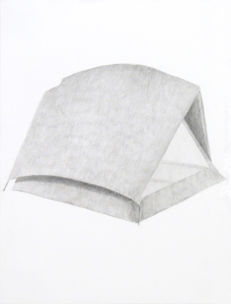 Tent (1), 2018, graphite on paper, 9 x 12 inches