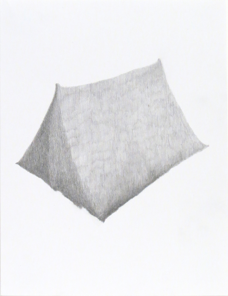 Tent (4), 2018, graphite on paper, 9 x 12 inches