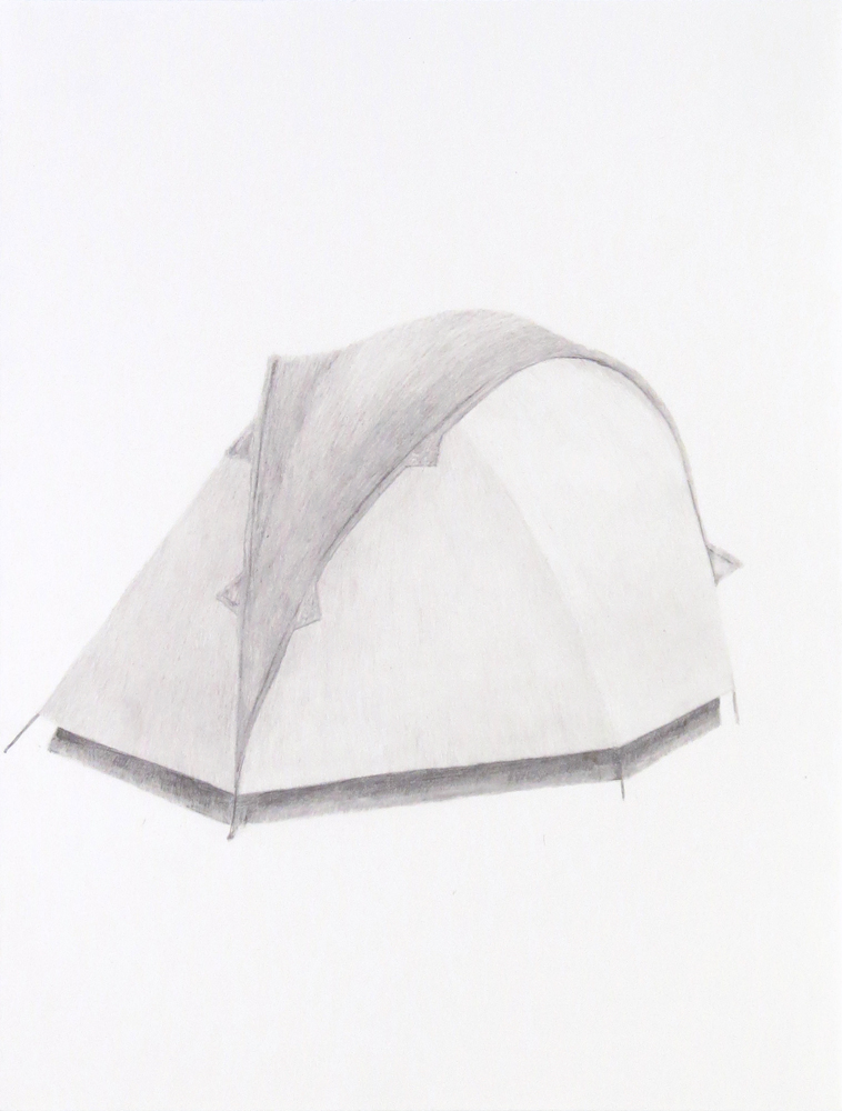 Tent (6) , 2018, graphite on paper, 9 x 12 inches