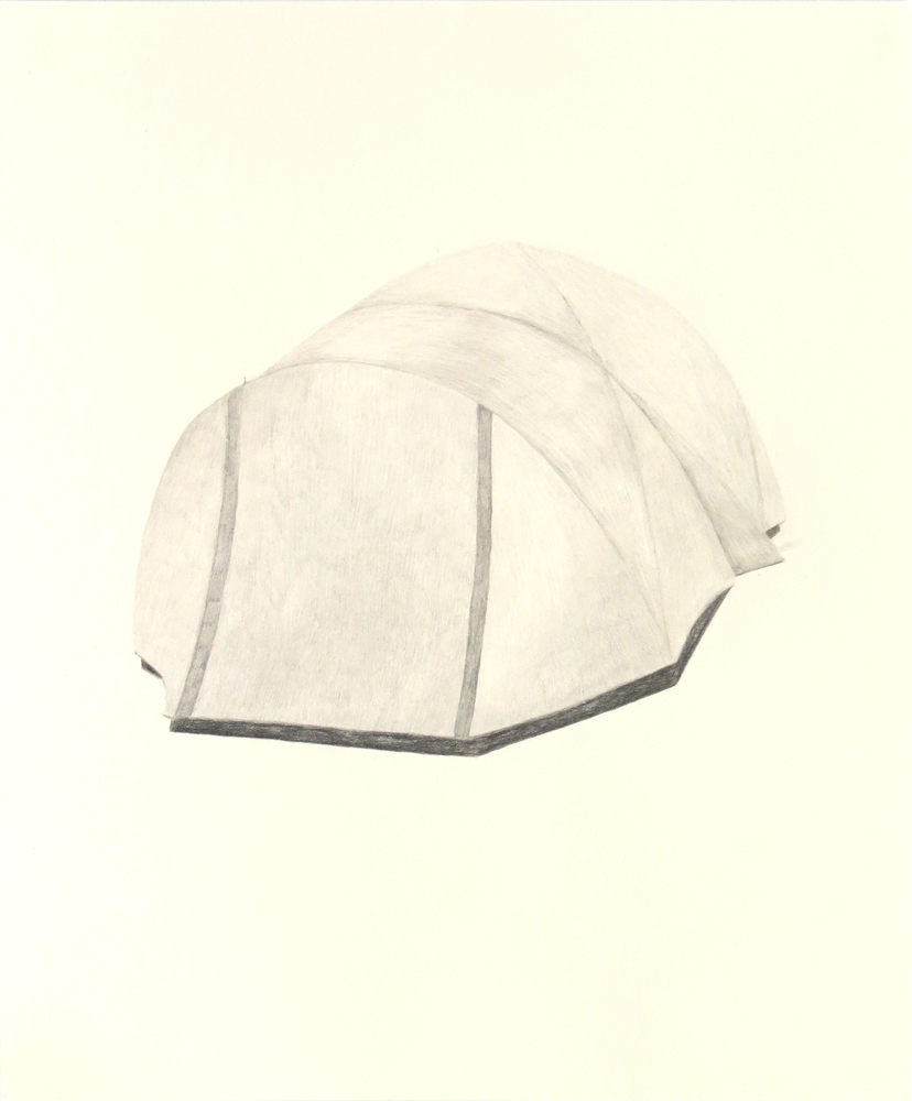 Tent (8) , 2018, graphite on cream paper, 14 x 17 inches