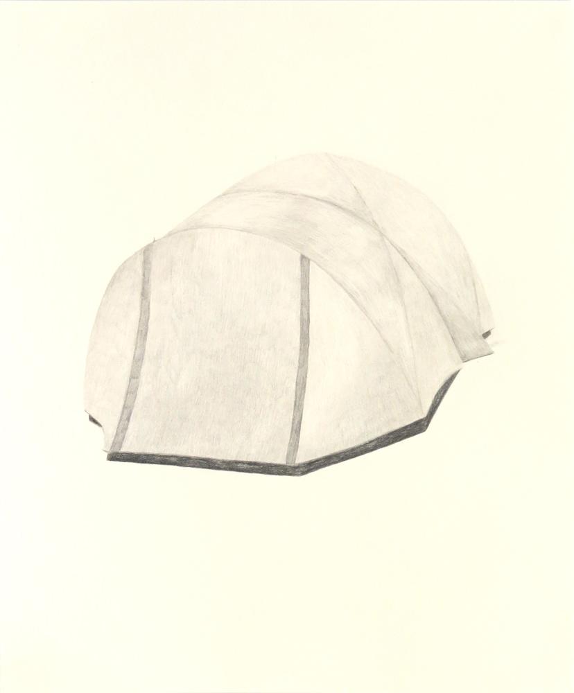 Tent (8) , 2018, graphite on cream paper, 14 x 17 inches
