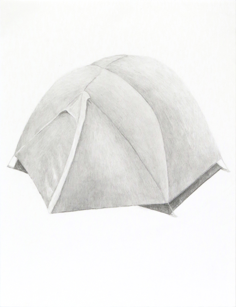 Tent (2) , 2018, graphite on paper, 9 x 12 inches