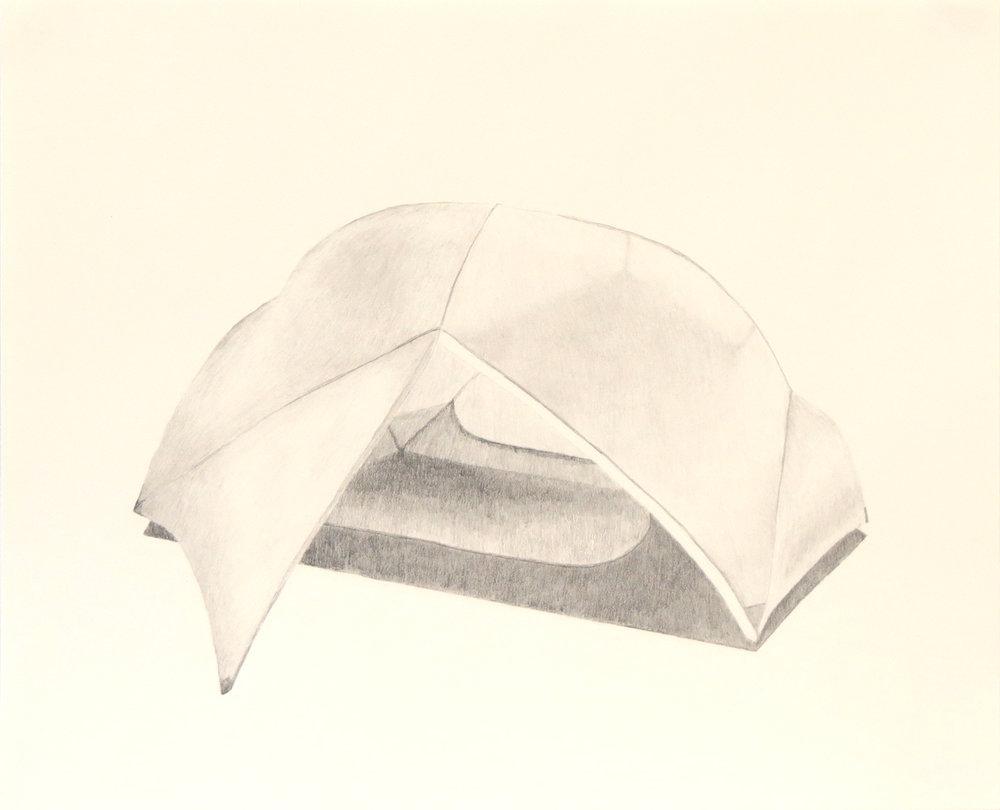 Tent (10) , 2018, graphite on cream paper, 14 x 17 inches