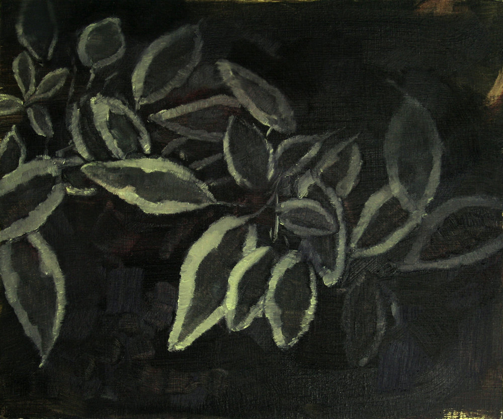 Untitled (Night garden),  Oil on panel, 10 x 12 inches