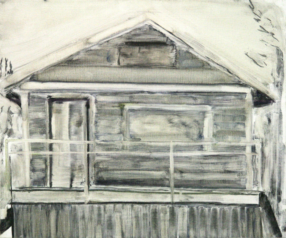 Dawson House (November) , 2018, Oil on wood, 10 x 12 inches