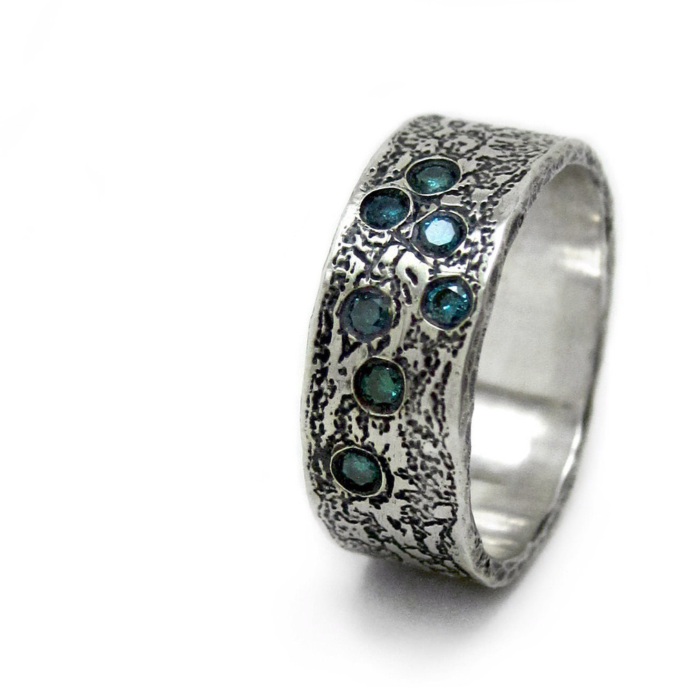 Wedding dress lace and blue diamond custom wedding ring