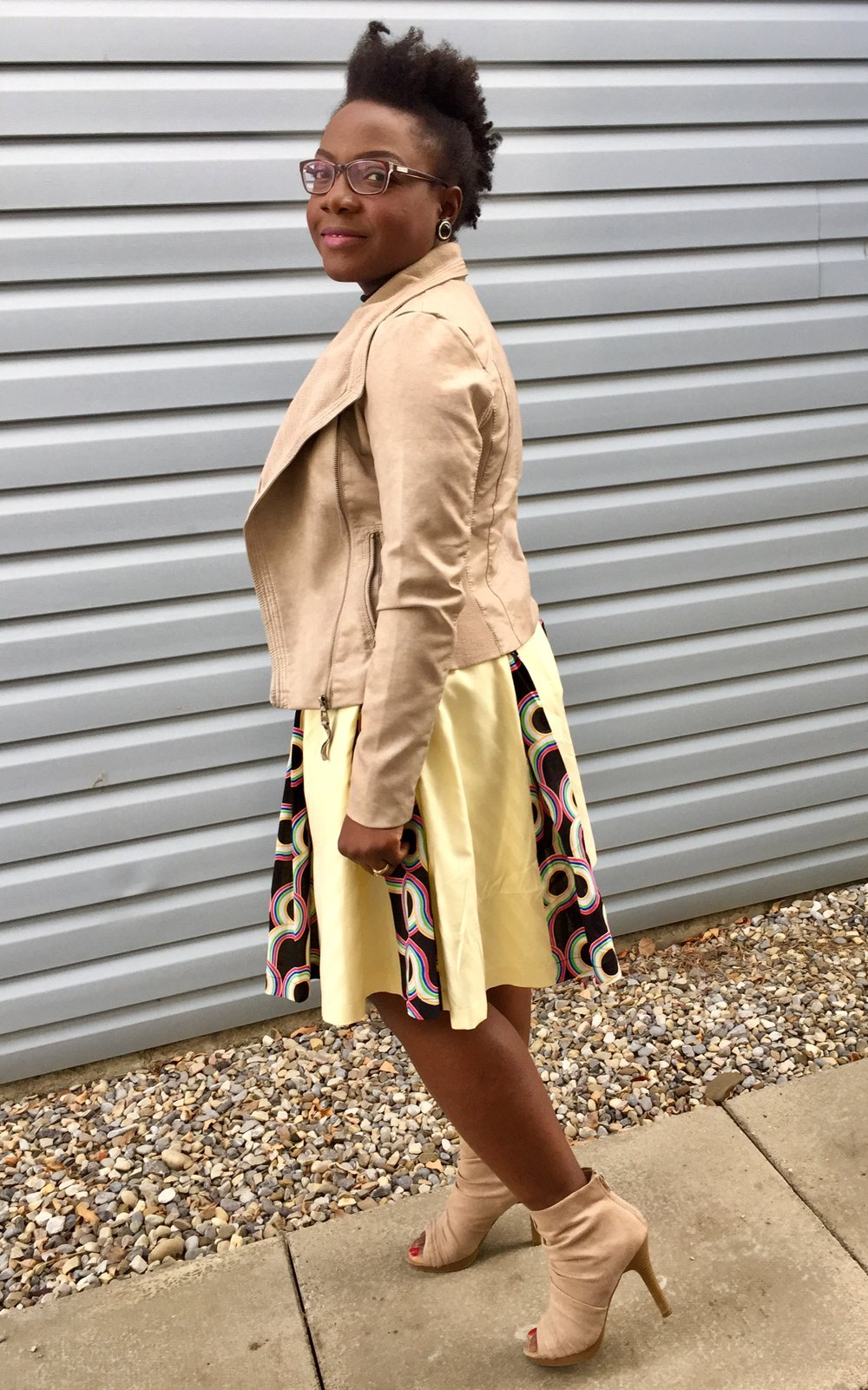 thebrazencloset-midi skirt -faux leather jacket