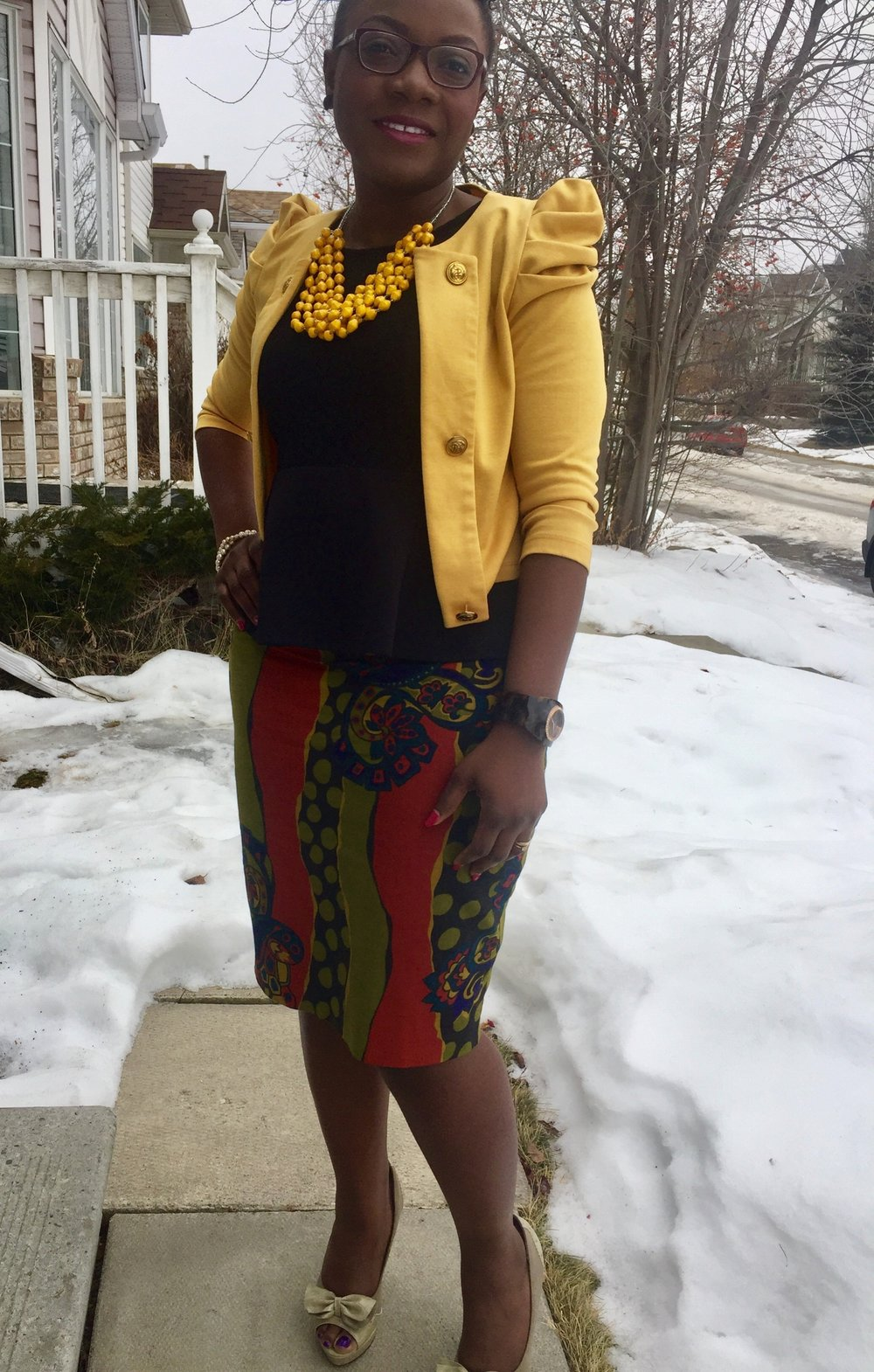 Styling an African print pencil skirt