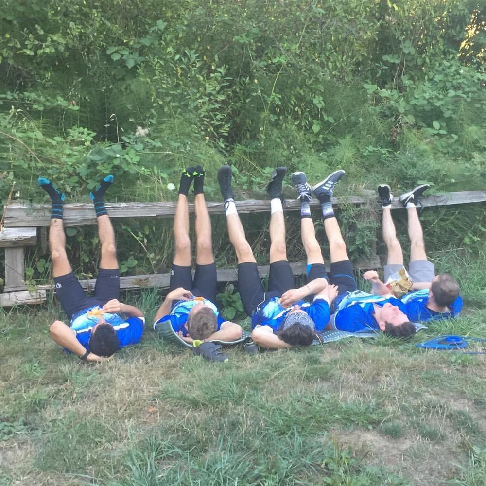 Elevating our legs after a long day of cycling - nothing has ever felt better