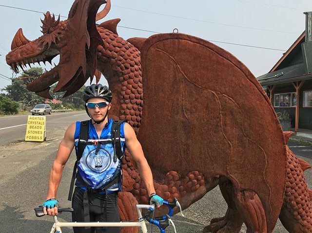 HEY. We found a sick dragon on the Oregon coast. A dragons spirit is what we need to keep going. We also need all of you to go read our blogs on cycle4charvat.com. Like them, tell us your favorite parts, laugh at us screwing up and not knowing what the heck we are doing half the time. Love you guys, we eatin'.