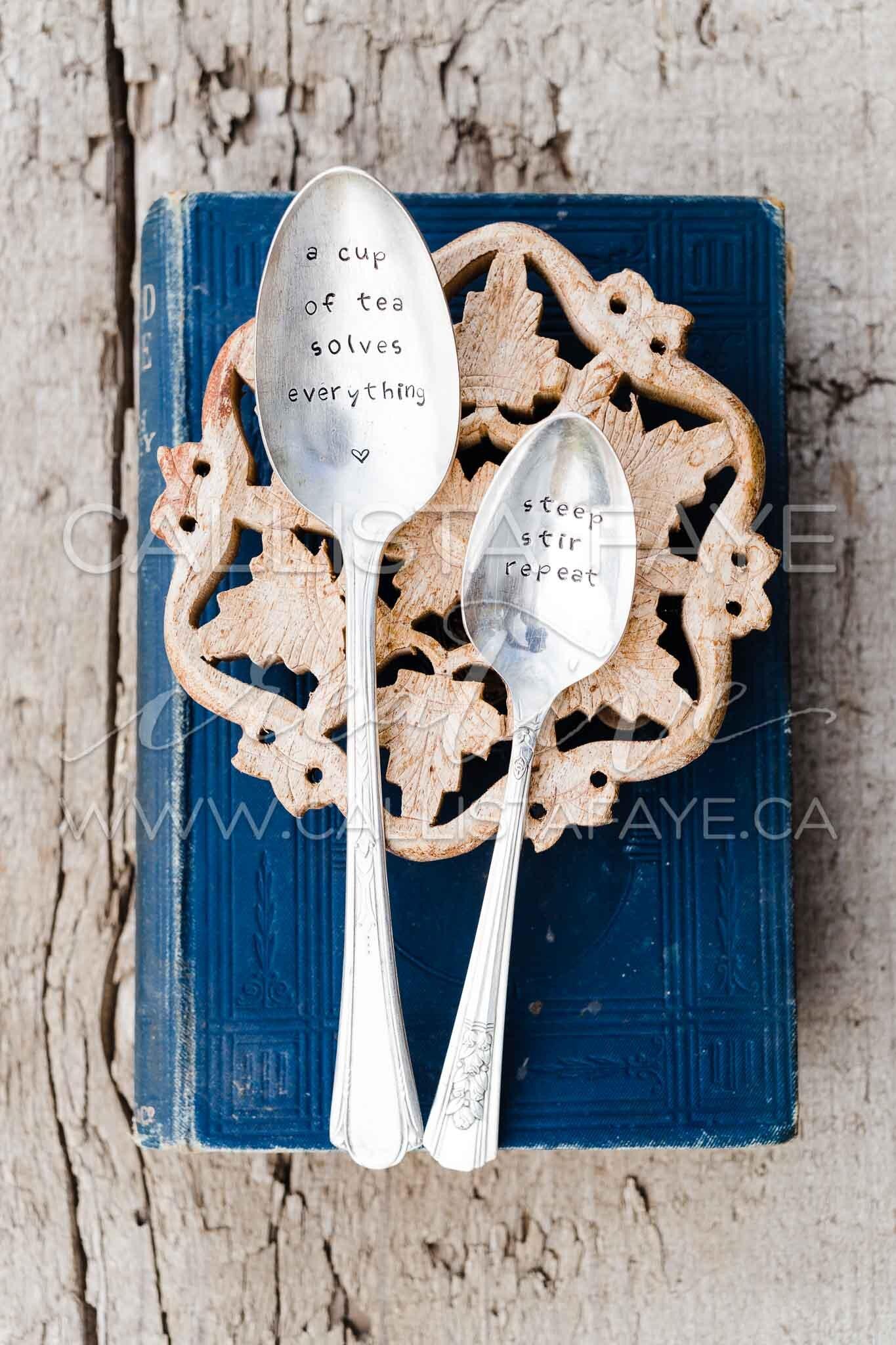 Espresso Patronum vintage silverware hand stamped spoon