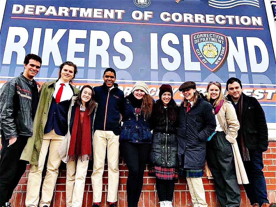 Myself and the cast of THE TWO GENTLEMEN OF VERONA before the performance at RIKERS ISLAND- December 2016