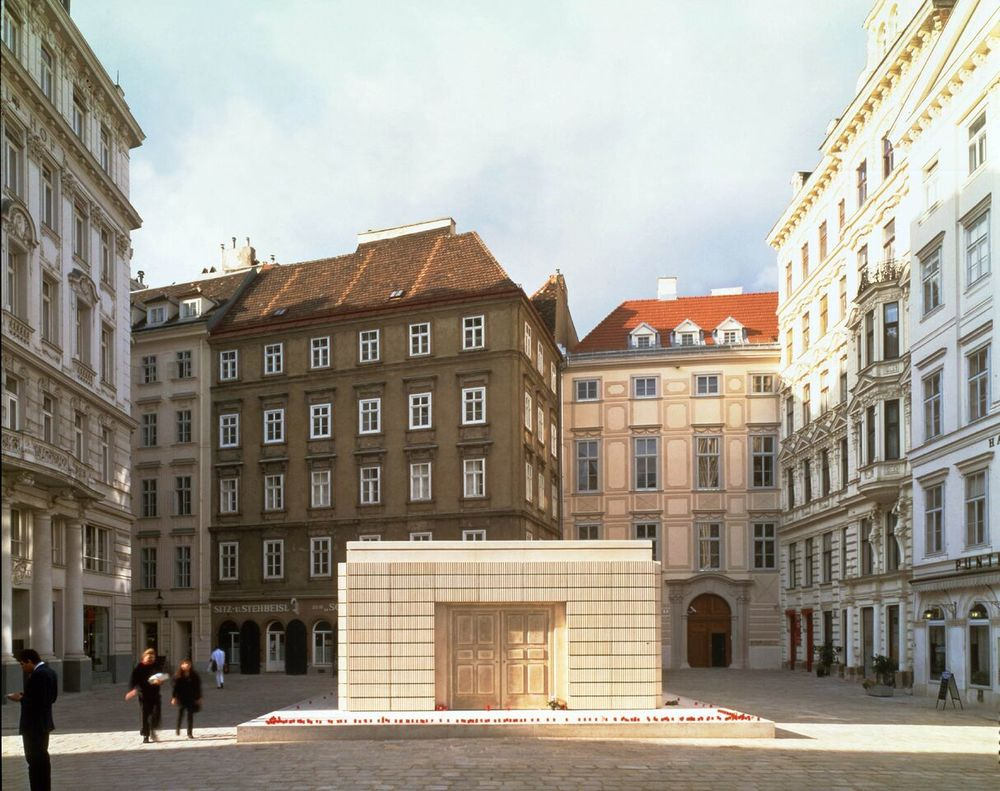 Rachel Whiteread,   Holocaust Memorial   , 1995-2000  . Judenplatz, Vienna.   Mixed media  . 3.8 x 7 x 10 meters.