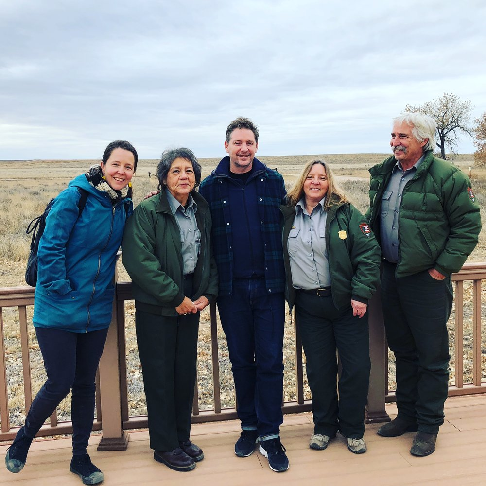 Jessica Neath and Brook Andrew with Karen Wilde, Tribal Liaison, Alexa Roberts, Superintendent, and Karl Zimmermann, Sand Creek Massacre National Historic Site, 30 October 2017.