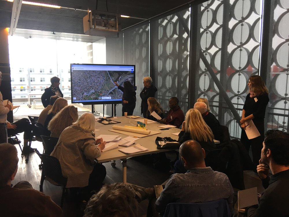 Corina Marino, Jenny Bisset and Anne Loxley presenting the Blacktown Native Institution site to workshop participants. RMIT Design Hub, 29th June 2018. Photograph by Brook Andrew.