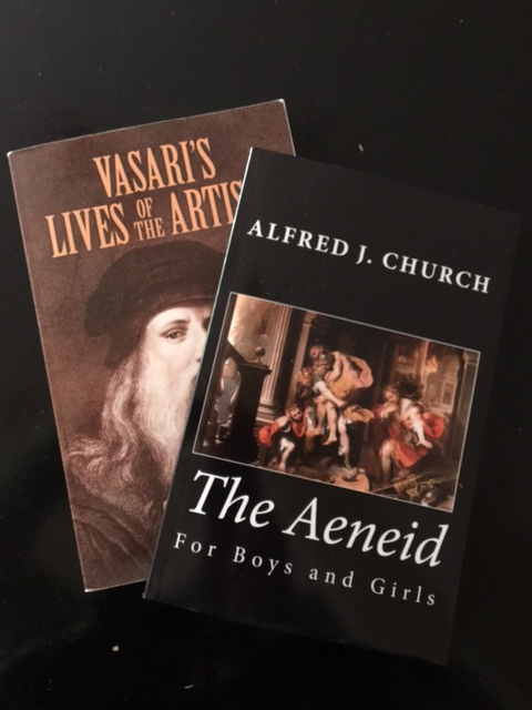 Middle school (The Aeneid) and a teacher's favorite (Vasari's lives of the artists)