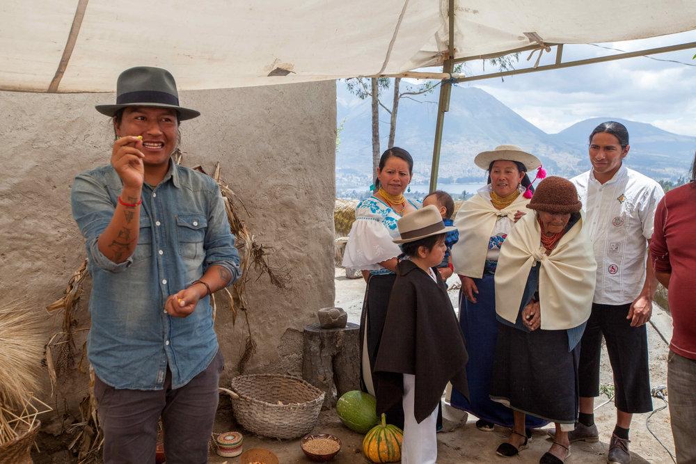 """Tupac Lema.  """"Yo, viviendo en Quito estaba perdiendo el sentido de estar conectado a la tierra. Entonces ahora nosotros tenemos una campana y a cada mujercita le damas maíz. Tenemos esa facultad y la magia de la tierra. Pones una semilla y te da 50. Eso es magia. Si tu guardas en un banco, no se reproduce eso. Pero guarda esta semilla con tanto cariño, con tanto amor en la tierra y eso si triplicara. Somos Runas diremos. Runas son personas conectados a la madre tierra. Y el modelo de la vida de las runas es eso.  No somos pobres, somos seres de la naturaleza, del cosmos. tenemos la facultad y la magia de reproducir eso. Nosotros producimos alimento para el mundo.  Tenemos la facultad de sembrar y hacer millones y para dejar herencia."""""""
